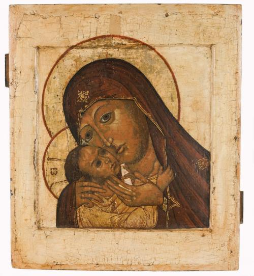Russian icon, Korsunskaya Mother of God,17th century, 31,5 x 27 cm; Russische ikoon, Moeder Gods Korsunskaja, 17e eeuw,